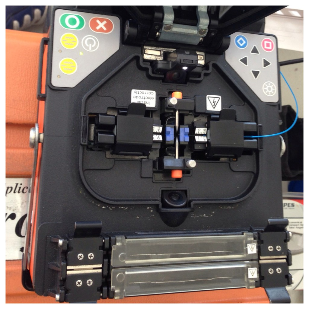 Fibre Optic Cable is inserted into the Fusion Splicer.