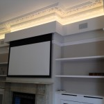 Painted, finished installation with projector screen down
