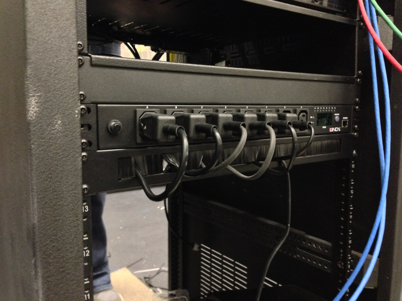 Power cables plugged into PDU's