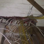 Temporarily hanging CAT6 cables from trusses with cable ties