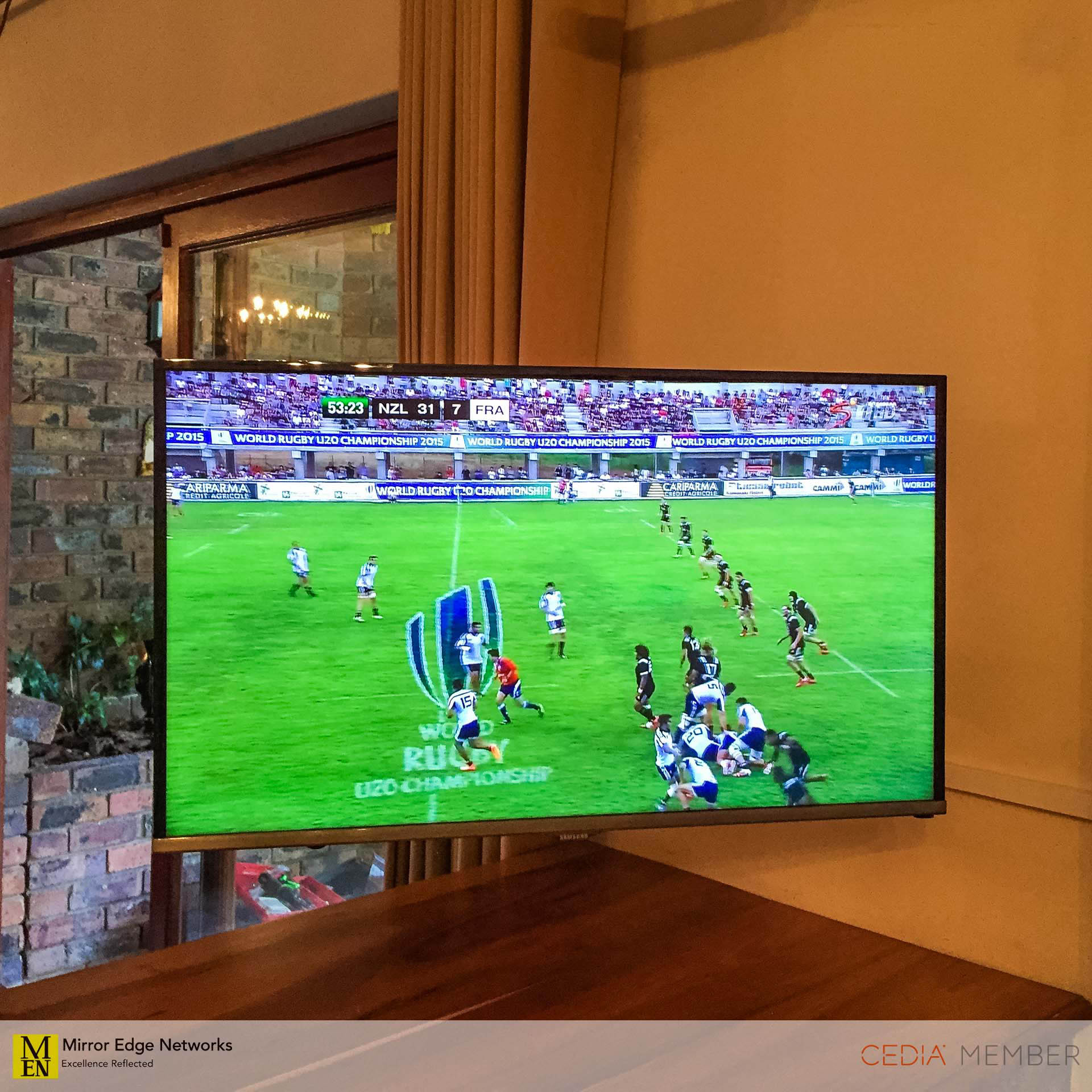 Television on Vogels wall bracket turned to the lounge