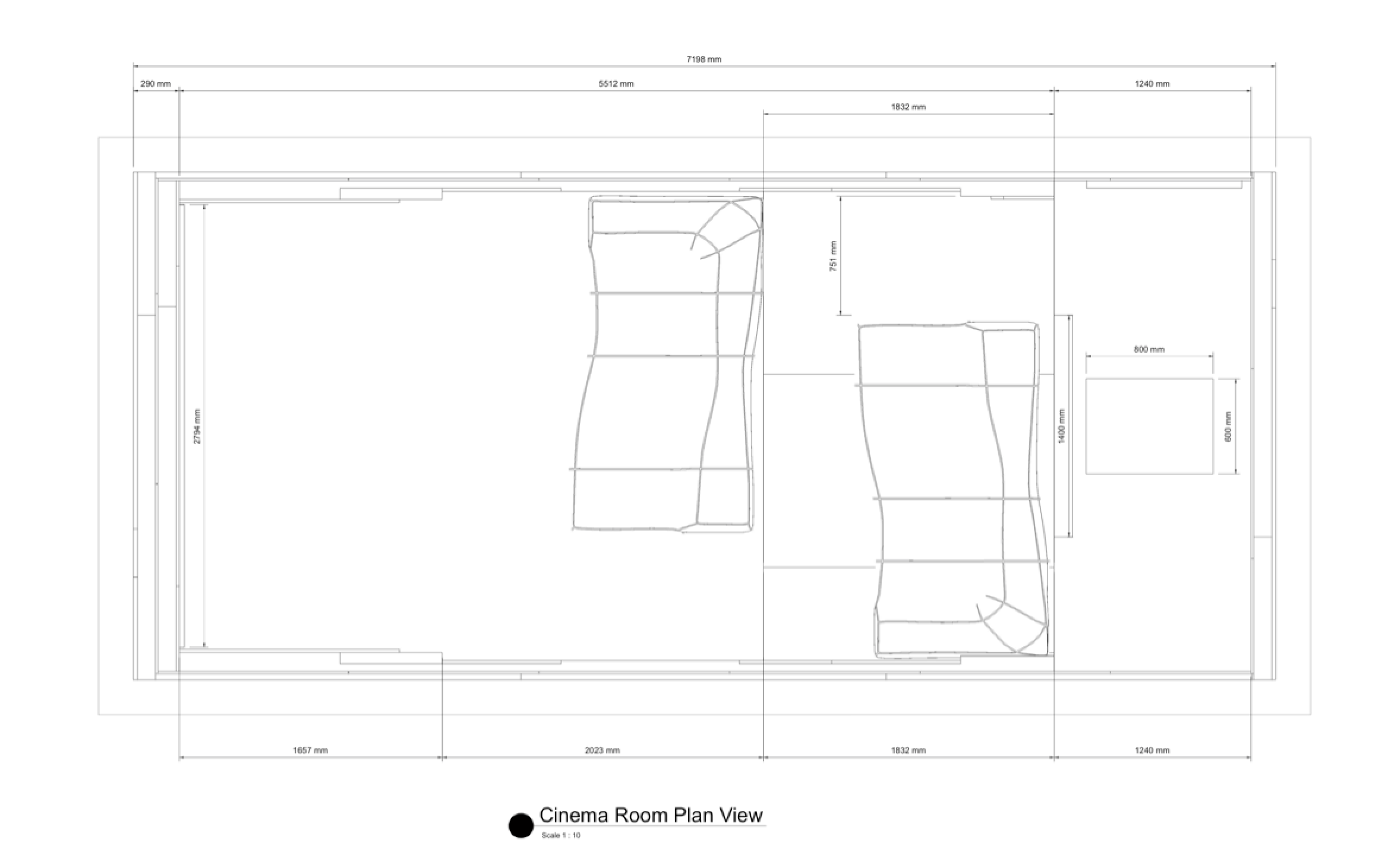Plan view of our Camps Bay home cinema