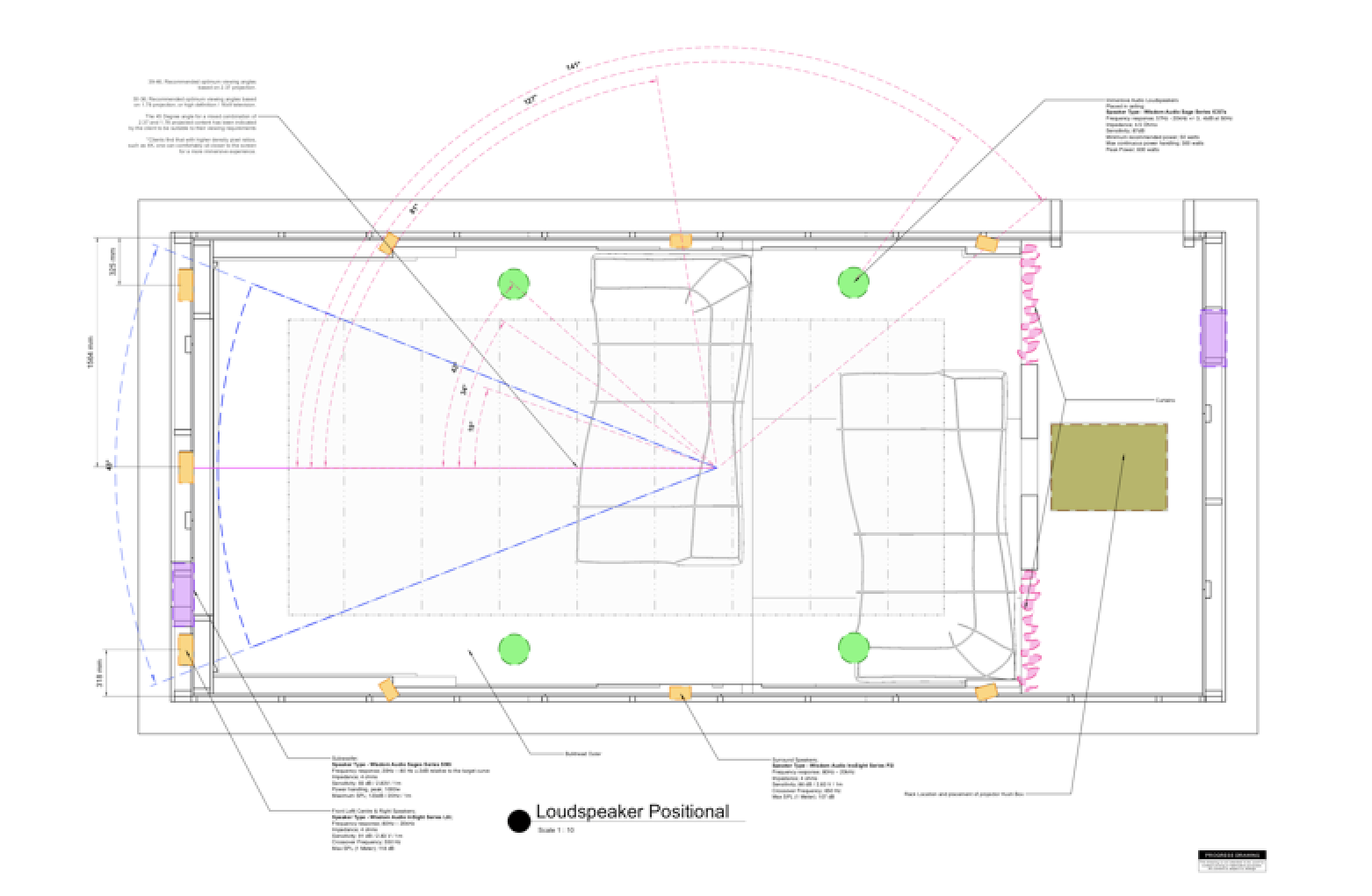 Technical speaker layout of our Camps Bay home cinema - plan view