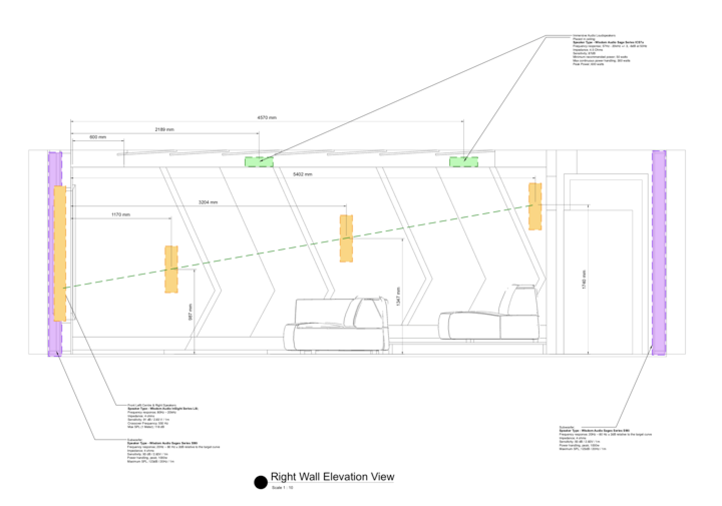 Technical speaker layout of our Camps Bay home cinema - Side Wall View