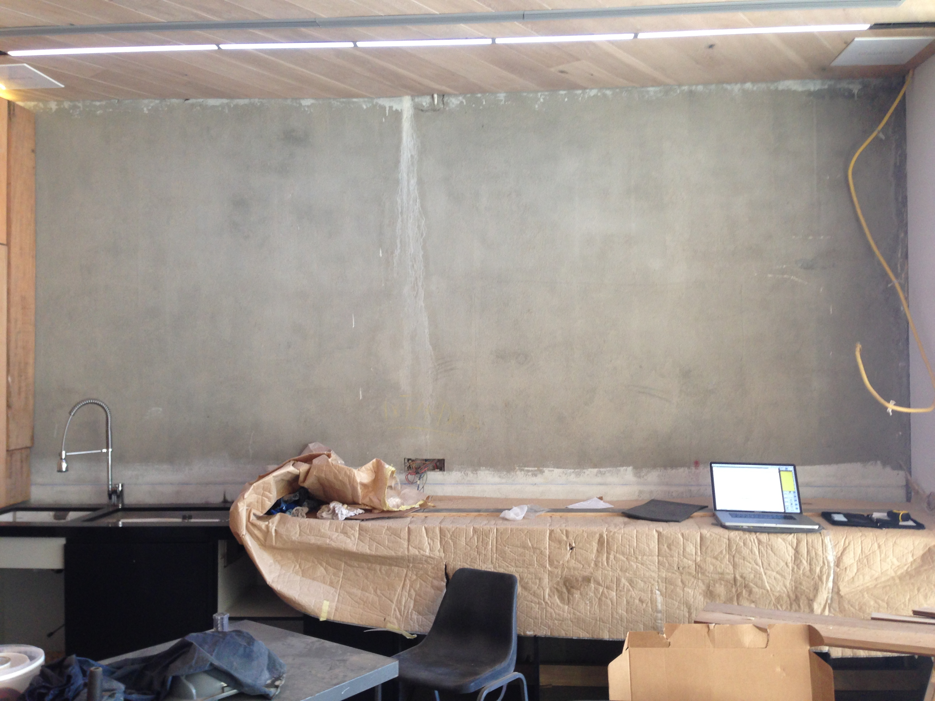 Bar Wall before the Mirror Television Installation
