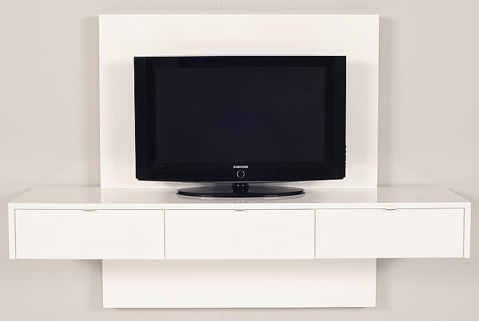 Demonstration Setup White Floating Television Unit With Top And Bottom Panels