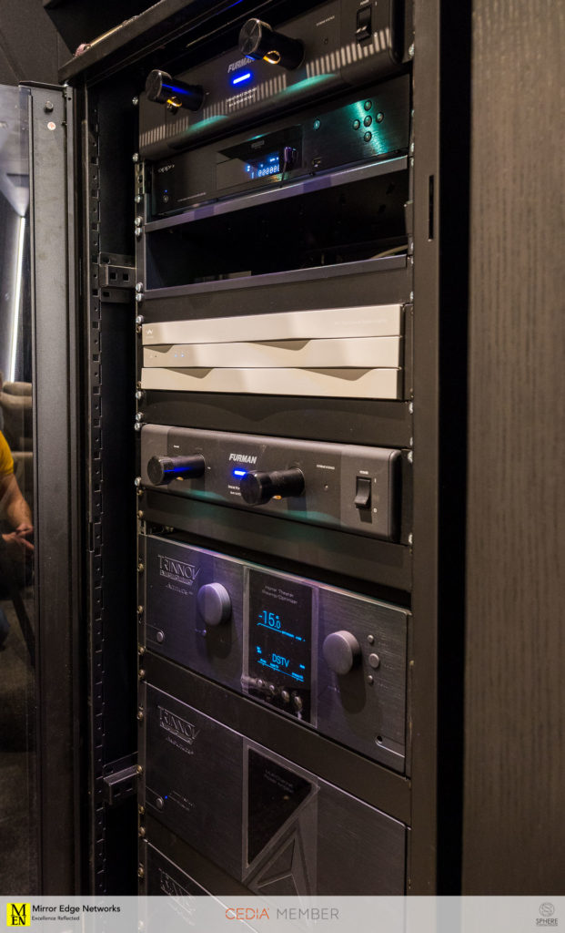 The equipment rack for this Dolby Atmos home cinema