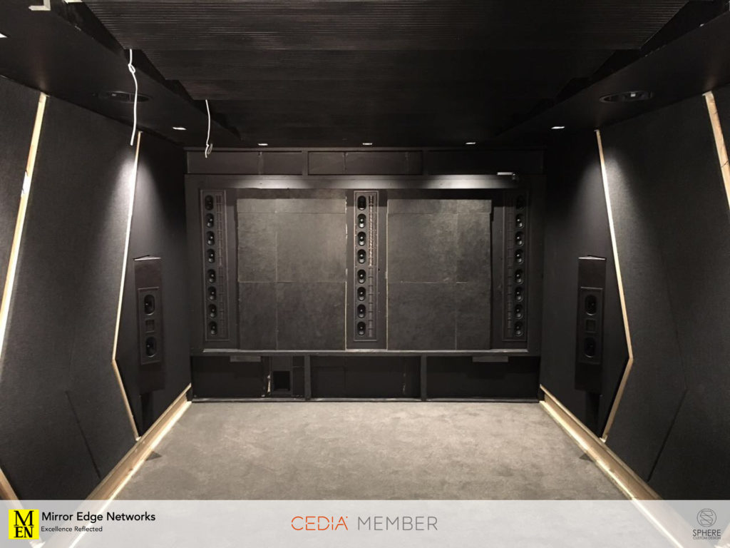 The Wisdom Audio speaker package has been installed into this Dolby Atmos home cinema
