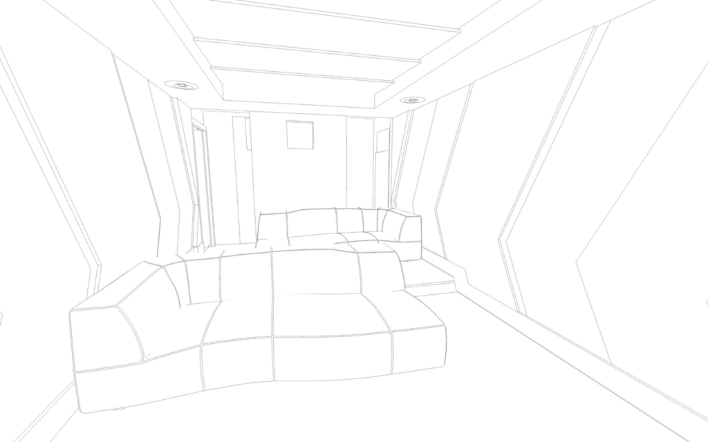 Conceptual wire drawings of the Dolby Atmos home cinema